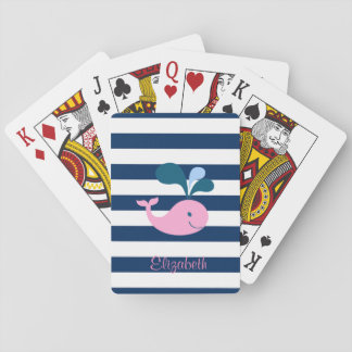 Cute Baby Whale, Navy Blue Stripes-Personalized Playing Cards