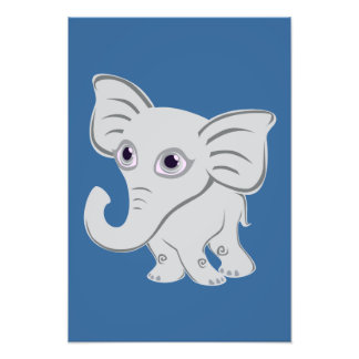 Cute Baby White Elephant With Curling Trunk Photo Print