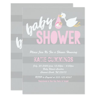 Cute Baby with a Stork Baby Shower Invitation