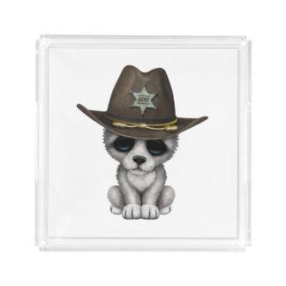 Cute Baby Wolf Sheriff Acrylic Tray