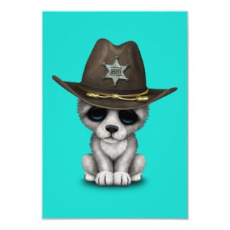 Cute Baby Wolf Sheriff Card