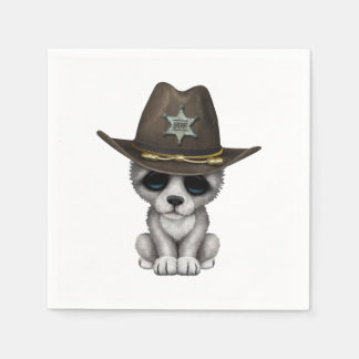 Cute Baby Wolf Sheriff Paper Serviettes
