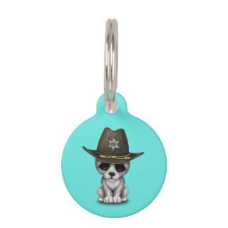 Cute Baby Wolf Sheriff Pet Name Tag