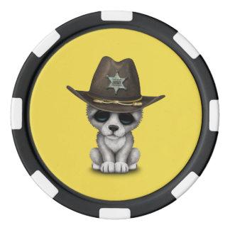 Cute Baby Wolf Sheriff Poker Chips