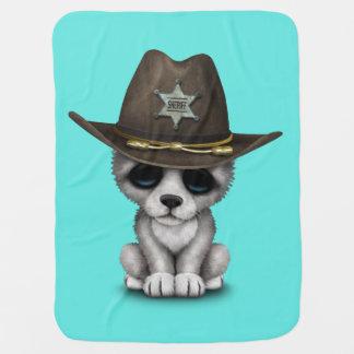 Cute Baby Wolf Sheriff Receiving Blanket
