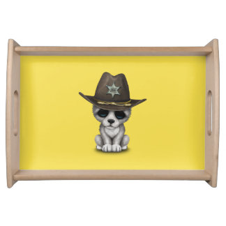 Cute Baby Wolf Sheriff Serving Tray
