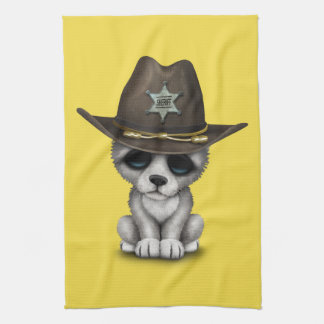 Cute Baby Wolf Sheriff Tea Towel