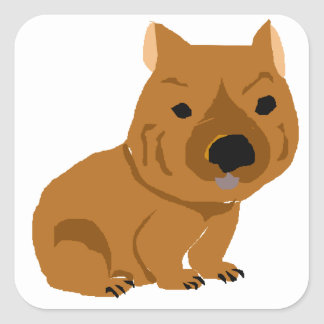Cute Baby Wombat Design Square Sticker