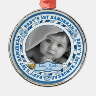 Cute Baby's 1st Hanukkah Dreidels Photo Name Metal Ornament