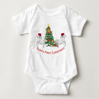 Cute Baby's First Christmas Baby Goats and Tree Baby Bodysuit