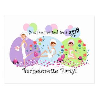 Cute Bachelorette Party Spa Postcard Invitations