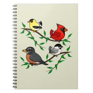 Cute Backyard Birds Spiral Notebook