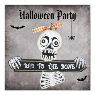 Cute Bad to the Bone Damask Halloween Party Card