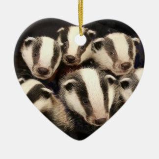 Cute Badger Cubs Ceramic Heart Decoration