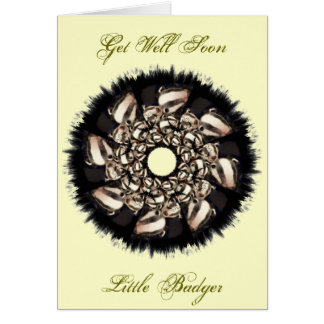 Cute Badger Cubs Fractal Greeting Cards