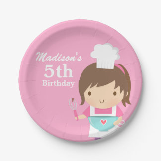 Cute Baker Chef Girl Cooking Baking Birthday Party Paper Plate