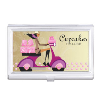 Cute Bakery Cupcake Gold Bakery Box Business Card Holder