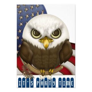 Cute Bald Eagle Patriotic Celebration Mini Custom Invites