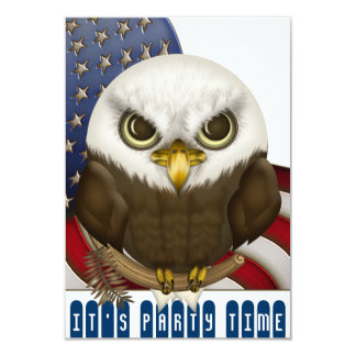 Cute Bald Eagle Patriotic Celebration Mini Custom Invites