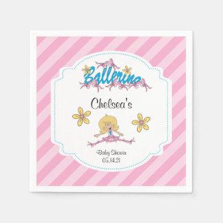 Cute Ballerina Baby Shower Theme 2 Paper Napkins