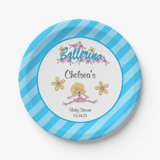 Cute Ballerina Baby Shower Theme Paper Plate