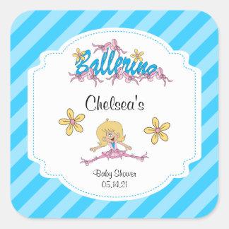 Cute Ballerina Baby Shower Theme Square Sticker