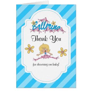 Cute Ballerina Baby Shower Theme Thank You Card