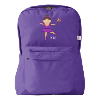 Cute Ballerina Dancer Purple Wand & Monogram Backpack
