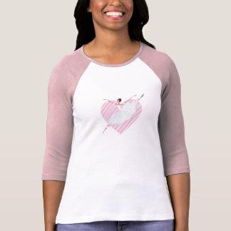 Cute ballerina dancing on a pink striped backgroun T-Shirt