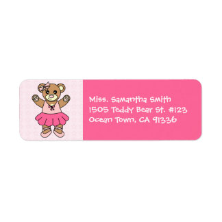 Cute Ballerina Dancing Teddy Bear - Pink Return Address Label