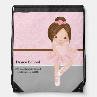 Cute Ballerina Drawstring Bag
