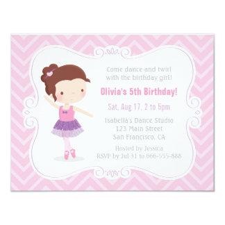 Cute Ballerina Girl Pink Chevron Birthday Party Card