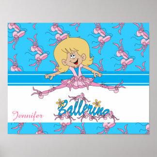 Cute Ballerina Nursery Theme Poster