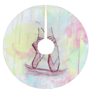 Cute Ballet shoes sketch Watercolor hand drawn Brushed Polyester Tree Skirt