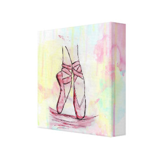 Cute Ballet shoes sketch Watercolor hand drawn Canvas Prints