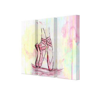 Cute Ballet shoes sketch Watercolor hand drawn Gallery Wrapped Canvas