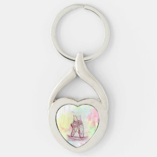 Cute Ballet shoes sketch Watercolor hand drawn Key Ring