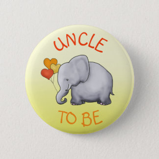 Cute Balloons Elephant Baby Shower Uncle-to-Be 6 Cm Round Badge