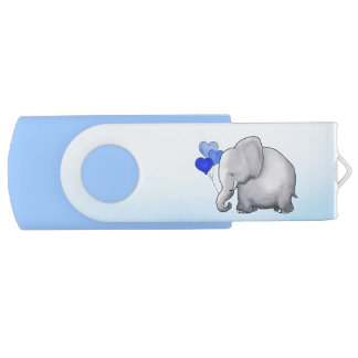 Cute Balloons Elephant Blue Baby Boy Shower USB Flash Drive