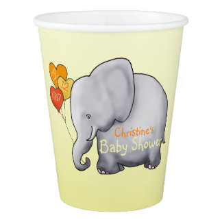 Cute Balloons Elephant Gender-Neutral Baby Shower Paper Cup