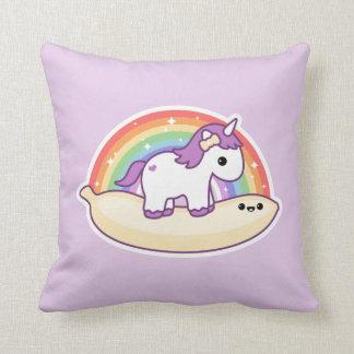 Cute Banana Unicorn Throw Pillow