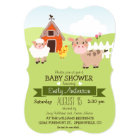 Cute Barn & Farm Animals Farmer Theme Baby Shower Card