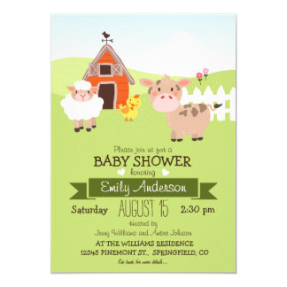 Cute Barn & Farm Animals, Farmer Theme Baby Shower 13 Cm X 18 Cm Invitation Card