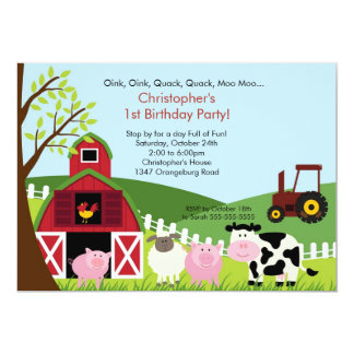 Cute Barnyard Animal Fun Birthday Party 13 Cm X 18 Cm Invitation Card