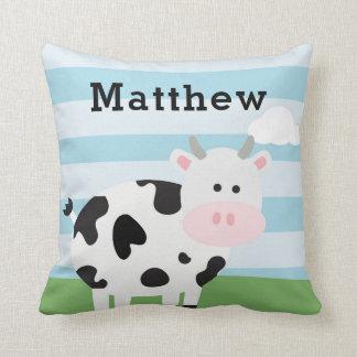 Cute Barnyard Cow Throw Pillow