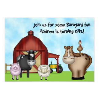Cute Barnyard Farm Animals 1st Birthday Invitation