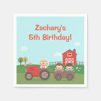 Cute Barnyard Tractor Kids Birthday Party Napkins Disposable Napkin