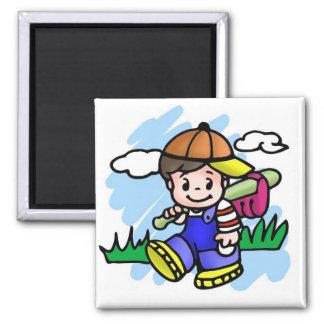 Cute Baseball Kid Square Magnet