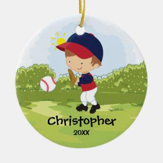 Cute Baseball Player Sport Christmas Ornament