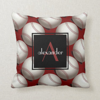 Cute Baseballs w Initial & Name, Customised Throw Pillow